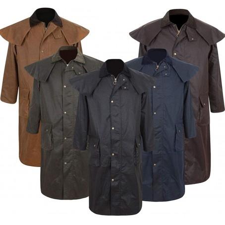 Mens Portmann Deluxe Stockman Long Cape Hooded Jacket Cotton Trench Coat