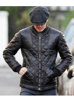 David Beckham Shopping In Milan Leather Jacket