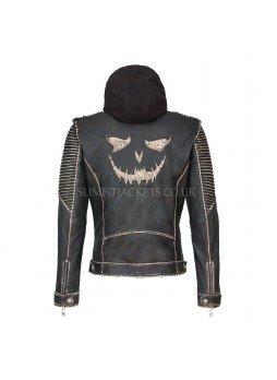 "Suicide Squad Slim Fit ""The Killing"" Joker Hooded Leather Jacket"