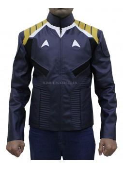 Chris Pine Star Trek Beyond James T Kirk Blue Leather Jacket