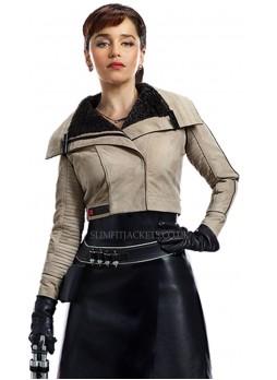 Emilia Clarke Solo A Star Wars Story Qira Fur Shearling Cotton / Faux Leather Jacket