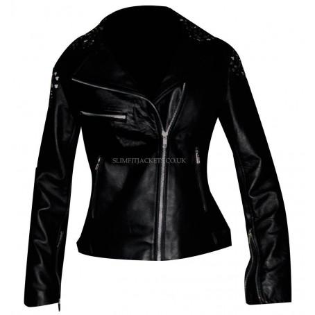 WWE Diva Paige Black Spikes Slimfit Leather Jacket