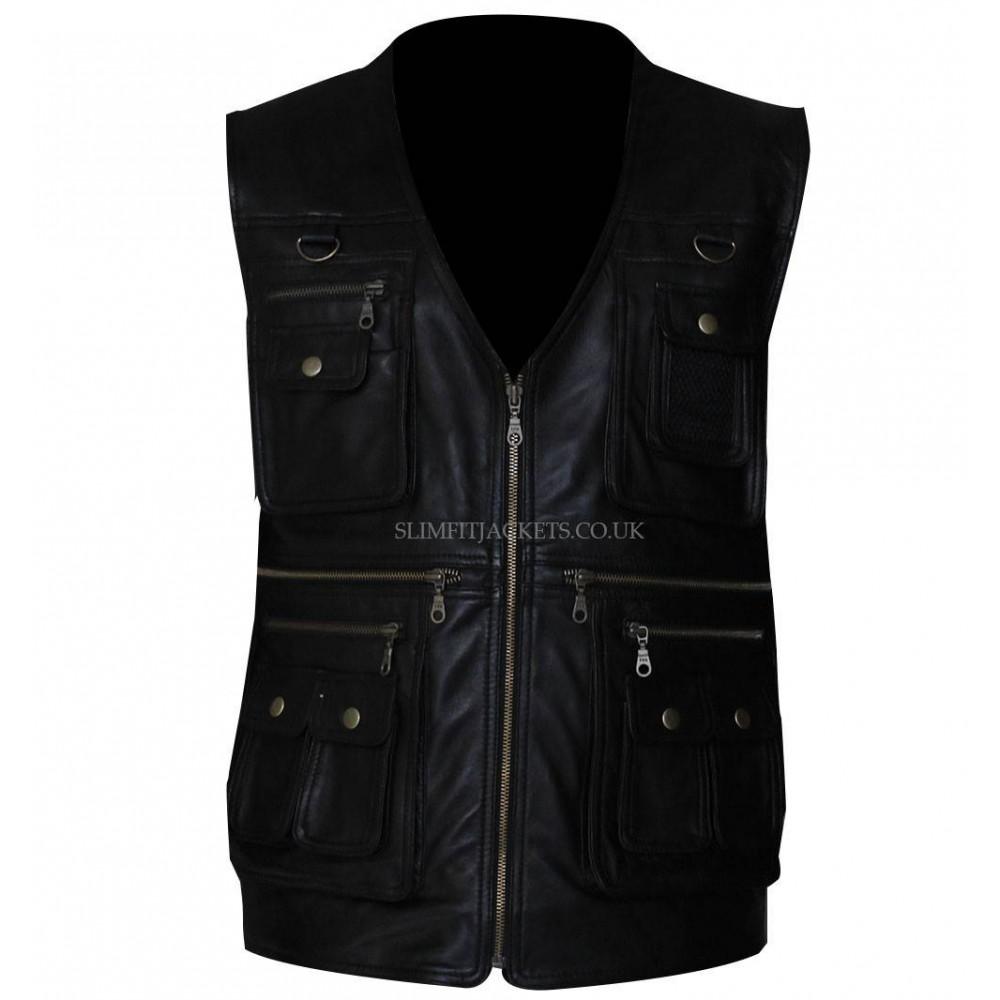 Men Zipper Pocket Black Leather Vest